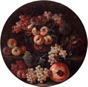 A still life of peaches and plums in a glass bowl,grapes,a melon and a pomegranate