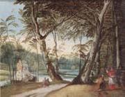 A wooded landscape with a beggar kneeling before a cardinal