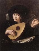 A Young man tuning a lute