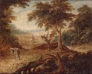 A wooded landscape with travellers and a horseman on a track