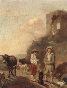 A landscape with young boys tending their animals before a set of ruins