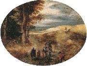 A Hilly landscape with a Horse-Drawn cart and other