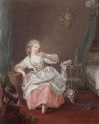 A bedroom interior with a young girl holding a song bird