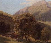A mountainous landscape with a maid before a chalet in a valley