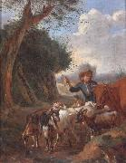 A Young herder with cattle and goats in a landscape