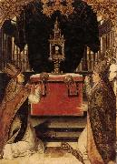 Saints augustine and hubert burning incense at an altar