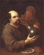 A man seated at a table holding a flagon,a servant offering him a glass of wine