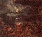 A pastoral scene with shepherds and nymphs dancing in the moonlight by the edge of a lake