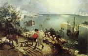 BRUEGEL, Pieter the Elder Landscape with the Fall of Icarus oil painting reproduction