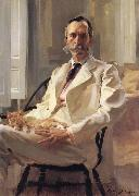 Cecilia Beaux Man with the Cat Portrait of Henry Sturgis Drinker oil painting