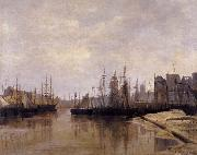 Desavary Charles L'Arriere-port de Dunkerque oil painting