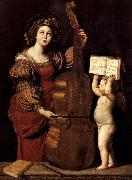 Domenichino Sainte Cecile avec un ange tenant une partition musicale oil painting reproduction