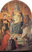 The Madonna and Child Enthroned with Stephen,St John the Baptist,Francesco di Marco Datini and Four Buonomini of the Hospital of the Ceppo of Prato