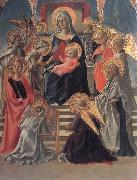 Madonna and Child Enthroned with Angels,a Carmelite and other Saints