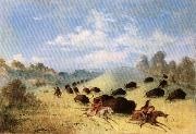 George Catlin Comanche Indians Chasing Buffalo with Lances and Bows oil painting picture wholesale
