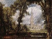 John Constable View of Salisbury Cathedral Grounds from the Bishop's House oil painting on canvas