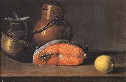 Luis Melendez Still Life with Salmon, a Lemon and Three Vessels oil painting