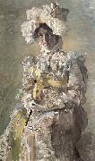 Portrait of Nadezhda zabela-Vrubel.the Artist's wife,wearing an empire-styles summer dress made to his design