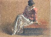 Adolph von Menzel Costume Study of a Seated Woman: The Artist's Sister Emilie oil painting picture wholesale
