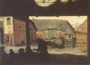 Cornelis van Dalem Farmyard with a Beggar (mk05) oil painting artist