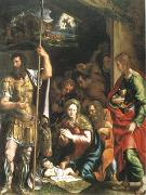 Giulio Romano The Nativity and Adoration of the Shepherds in the Distance the Annunciation to the Shepherds (mk05) oil painting