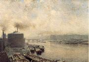 Meckel, Adolf von British Gas Works on the River Spree oil painting picture wholesale