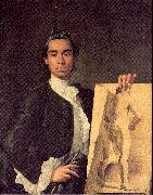 Melendez, Luis Eugenio Portrait of the Artist Holding a Life Study oil painting picture wholesale