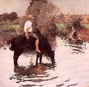 Muenier, Jules-Alexis Young Peasant Taking his Horse to the Watering Hole oil painting picture wholesale