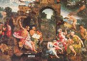 Oostsanen, Jacob Cornelisz van Saul and the Witch of Endor oil painting picture wholesale
