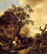 Ostade, Isaack Jansz. van The Outskirts of a Village with a Horseman oil painting picture wholesale