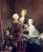 PESNE, Antoine The Artist at Work with his Two Daughters