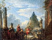 Panini, Giovanni Paolo Roman Ruins with Figures oil painting reproduction