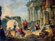 Panini, Giovanni Paolo Ruins with Scene of the Apostle Paul Preaching oil painting picture wholesale