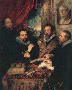 Peter Paul Rubens Fustus Lipsius and his Pupils or The Four Pbilosopbers (mk01) oil painting picture wholesale