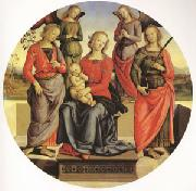 Pietro Perugino The Virgin and child Surrounded by Two Angels (mk05) oil painting picture wholesale