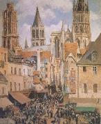 Camille Pissarro The Old Marketplace in Rouen and the Rue de I'Epicerie (mk09) oil painting reproduction