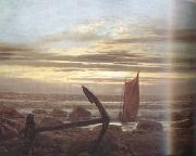 Caspar David Friedrich Moonlit Night with Boats on the Baltic Sea (mk10) oil painting picture wholesale