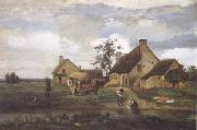Jean Baptiste Camille  Corot Ferme a Recouvriere (mk11) oil painting picture wholesale