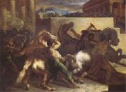 Theodore   Gericault Race of Wild Horses at Rome (mk05) oil painting picture wholesale