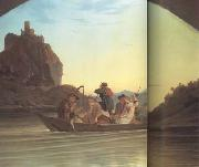 Adrian Ludwig Richter Crossing the Elbe in front of the Schreckenstein (mk10) oil painting