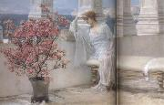 Alma-Tadema, Sir Lawrence Her Eyes Are with her Thoughts and They Are Far Away (mk23) oil painting reproduction