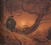 Caspar David Friedrich Two Men Contemplating the Moon (mk10) oil painting reproduction