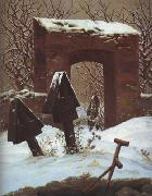 Caspar David Friedrich Cemetery in the Snow (mk10) oil painting picture wholesale