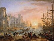 Claude Lorrain Seaport at Sunset (mk17) oil painting picture wholesale