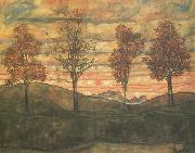 Egon Schiele Four Trees (mk12) oil painting picture wholesale