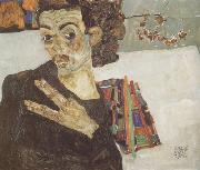 Egon Schiele Self-Portrait with Black Clay Vase and Spread Fingers (mk12) oil painting reproduction