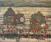 Egon Schiele Houses with Laundry (subrub II) (mk12) oil painting picture wholesale