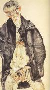 Egon Schiele Self-Portrait in Black Cloak (mk12) oil painting reproduction