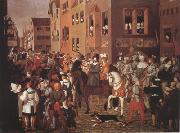 Franz Pforr Entry of Emperor Rudolf of Habsburg into Basel in 1273 (mk22) oil painting