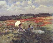 Giuseppe de nittis In the Fields Around London (nn02) oil painting